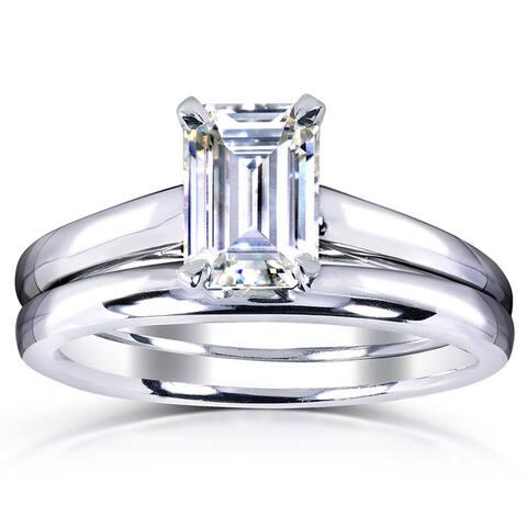 Annello by Kobelli White Gold 1ct. Solitaire Emerald-cut Moissanite Bridal Set