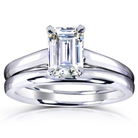 Annello by Kobelli White Gold 1ct. Solitaire Emerald-cut Moissanite Bridal Set