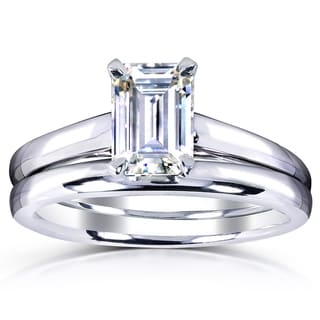 Annello 14k White Gold 1ct. Solitaire Emerald-cut Moissanite Bridal Set