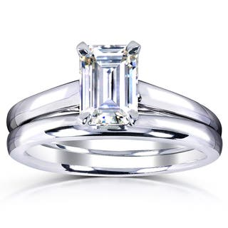 Annello by Kobelli White Gold 1ct. Solitaire Emerald-cut Moissanite (HI) Bridal Set|https://ak1.ostkcdn.com/images/products/10074447/P17218199.jpg?impolicy=medium