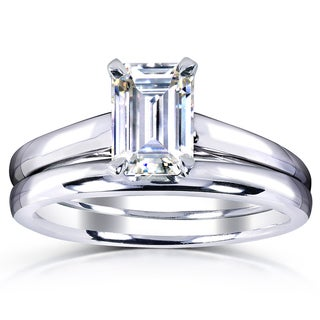 Annello by Kobelli White Gold 1ct. Solitaire Emerald-cut Moissanite (HI) Bridal Set (More options available)