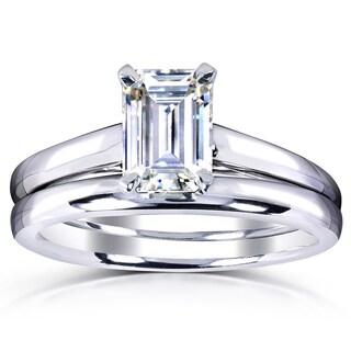 Annello By Kobelli White Gold 1ct. Solitaire Emerald Cut Moissanite (HI)  Bridal