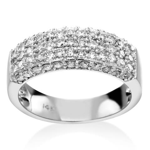 SummerRose 14k White Gold 1 1/10ct TDW Diamond Multi-row Pave Ring