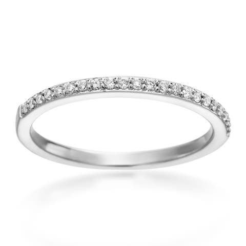 SummerRose 14k White Gold 1/6ct TDW Pave Diamond Band