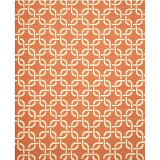 Handwoven Wool Orange Transitional Links Dhurrie Rug (8'9 x 11'9)
