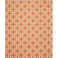 Handwoven Wool Orange Transitional Geometric Links Dhurrie Rug - 7'9 x 9'9