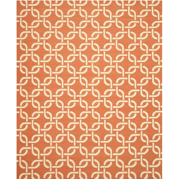 "Handwoven Wool Orange Transitional Geometric Links Dhurrie Rug - 7'9"" x 9'9"""