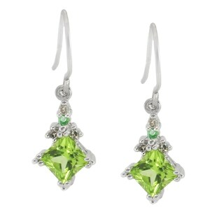 Michael Valitutti 14k White Gold Peridot, Emerald and Diamonds Earrings