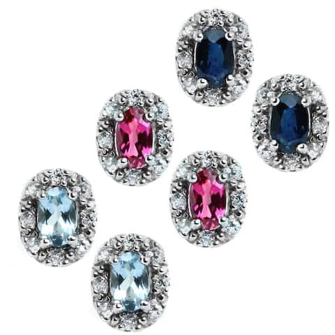 M.V. Jewels 14k Gold Earrings Blue Sapphire, Aquamarine, Pink Tourmaline