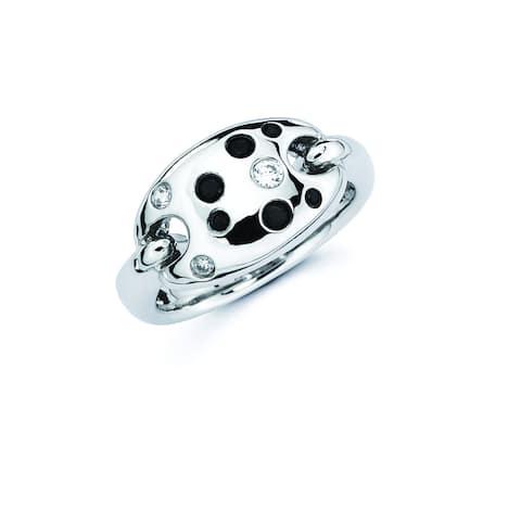 Lotopia 925 Sterling Silver Black & White Swarovski Zirconia Love Confetti Ring