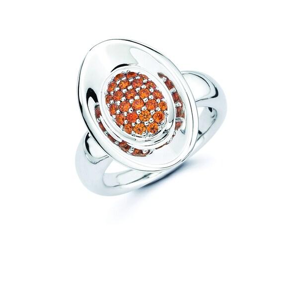 Lotopia 925 Sterling Silver Orange Swarovski Zirconia Love Oval Ring