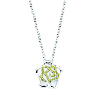 Lotopia 925 Sterling Silver Golden Yellow Swarovski Zirconia Love Flower Pendant w/ Chain