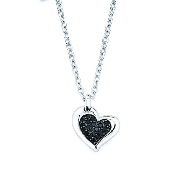 cd682679fdd Shop Lotopia 925 Sterling Silver Black Swarovski elements Zirconia Love  Heart Pendant Necklace - Free Shipping On Orders Over $45 - Overstock -  10074550