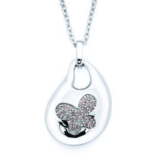 Lotopia 925 Sterling Silver Pink Swarovski Zirconia Bold Butterfly Pendant Necklace