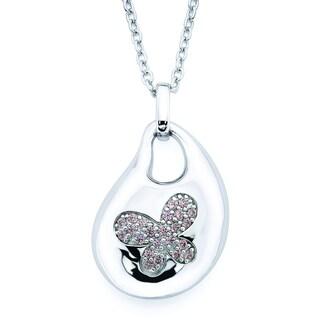 Lotopia 925 Sterling Silver Pink Swarovski Zirconia Bold Butterfly Pendant w/ Chain