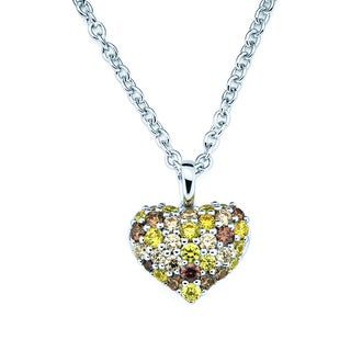 Lotopia Yellow and Brown Swarovski Zirconia Pendant
