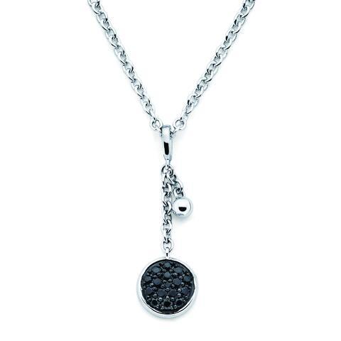 Lotopia 925 Sterling Silver Black Swarovski Zirconia Round Pendant w/ Chain