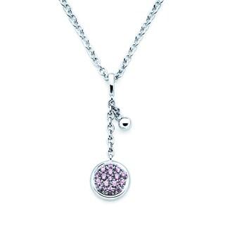 Lotopia 925 Sterling Silver Pink Swarovski Zirconia Round Pendant w/ Chain