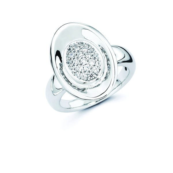 Lotopia 925 Sterling Silver White Ice Swarovski Elements Zirconia Love Oval Ring