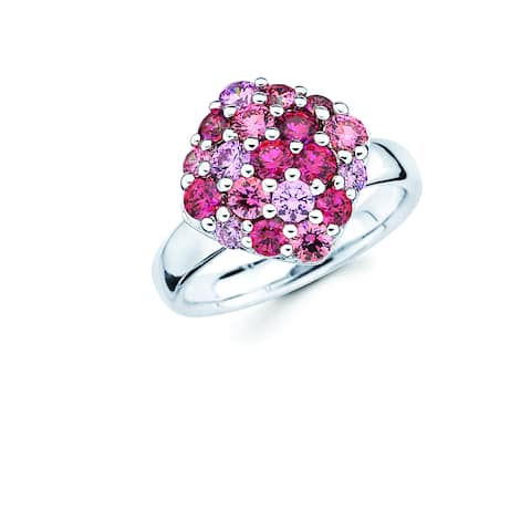 Lotopia 925 Sterling Silver Pink and Red Swarovski Zirconia Square Fashion Ring