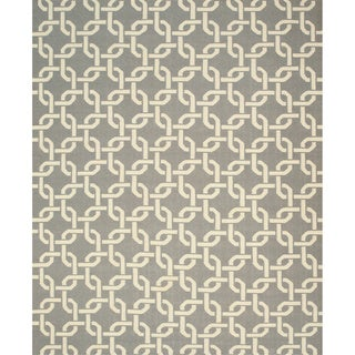 Handwoven Wool Gray Transitional Geometric Links Dhurrie Rug (8'9 x 11'9)