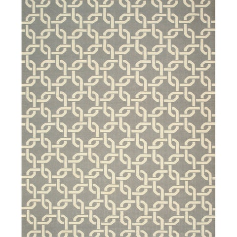 "Handwoven Wool Gray Transitional Geometric Links Dhurrie Rug - 7'9"" x 9'9"""