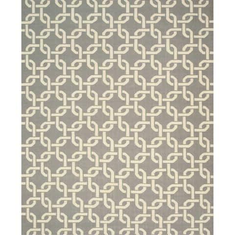 "Handwoven Wool Gray Transitional Geometric Links Dhurrie Rug - 7'9"" x 9'9"""