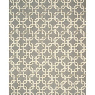 Handwoven Wool Gray Transitional Geometric Links Dhurrie Rug (7'9 x 9'9)