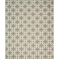 Handwoven Wool Gray Transitional Geometric Links Dhurrie Rug - 7'9 x 9'9