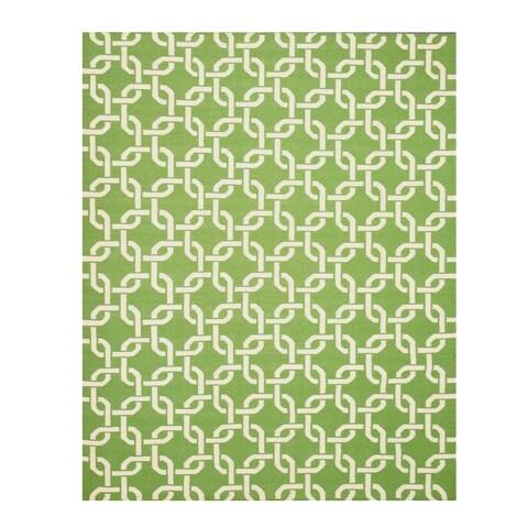 "Handwoven Wool Green Transitional Geometric Links Dhurrie Rug - 7'9"" x 9'9"""