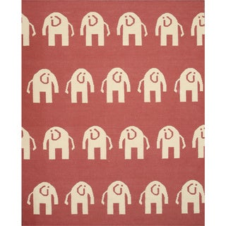 EORC Hand Woven Wool Pink Elephant Dhurrie Rug (8'9 x 11'9)