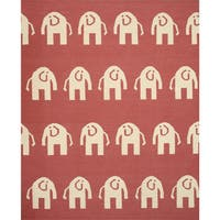 Handwoven Wool Pink Transitional Animal Elephant Dhurrie Rug (7'9 x 9'9) - 7'9 x 9'9
