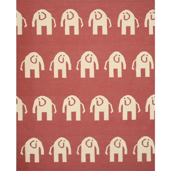 Shop Handwoven Wool Pink Transitional Animal Elephant