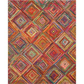 Hand-tufted Cotton Transitional Abstract Sari Squares Rug (5' x 8')