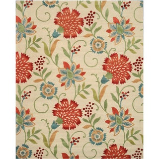 Hand-tufted Wool Ivory Transitional Floral Spring Garden Rug (7'9 x 9'9)