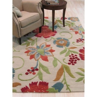 Hand-tufted Wool Ivory Transitional Floral Spring Garden Rug (5' x 8')