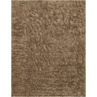 Handwoven Wool & Viscose Mocha Contemporary Solid Shaggy Rug (7'9 x 9'9) - 7'9 x 9'9