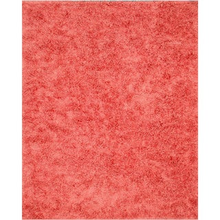 Handwoven Wool & Viscose Pink Contemporary Solid Shaggy Rug (7'9 x 9'9)