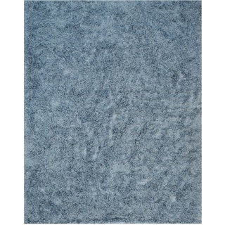 Handwoven Wool & Viscose Blue Contemporary Solid Shaggy Rug (7'9 x 9'9)