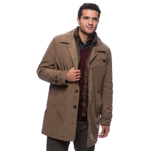 Tommy hilfiger men s poly twill trench with zip out puffer bib free