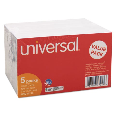 Universal 3 x 5 White Ruled Index Cards (Pack of 5)