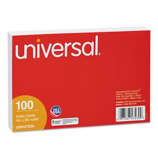 Universal White Ruled Index Cards (10 Packs of 100)