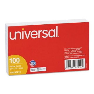 Universal White Ruled Index Cards (20 Packs of 100)