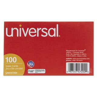 Universal White Unruled Index Cards (20 Packs of 100)