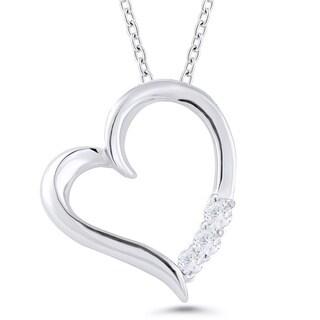 Sterling Silver 1/10ct TDW Diamond Heart Pendant