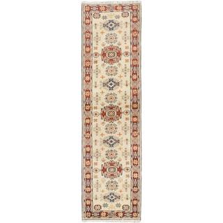 Ecarpetgallery Royal Kazak Cream Wool Geometric Rug Runner (2'10 x 10'1)