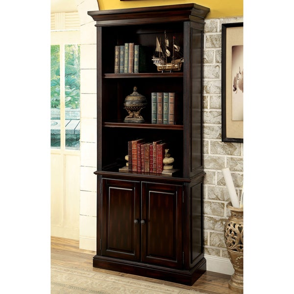 dark bookcases media shelf table sauder wood cubbies cherry stand select console storage finish brown bookcase
