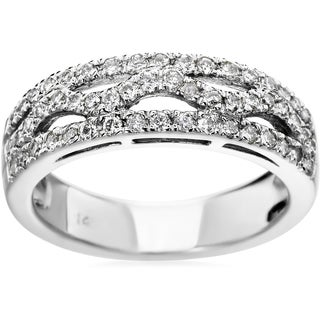SummerRose 14k White Gold 0.54ct Micropave Diamond Fashion Ring