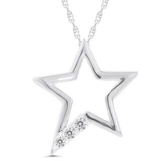10k White Gold 1/10ct TDW Diamond Star Necklace (I-J, I2-I3)