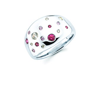 Lotopia 925 Sterling Silver Pink Swarovski elements Zirconia Love Confetti Ring